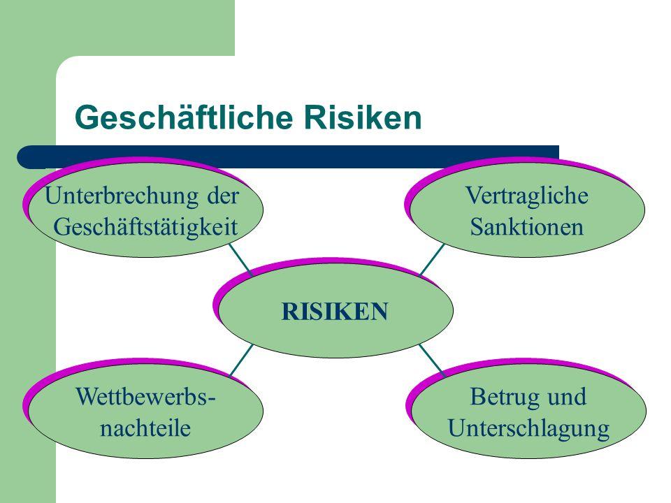 Geschäftliche Risiken RISIKEN Unterbrechung der Geschäftstätigkeit Unterbrechung der Geschäftstätigkeit Vertragliche Sanktionen Vertragliche Sanktione