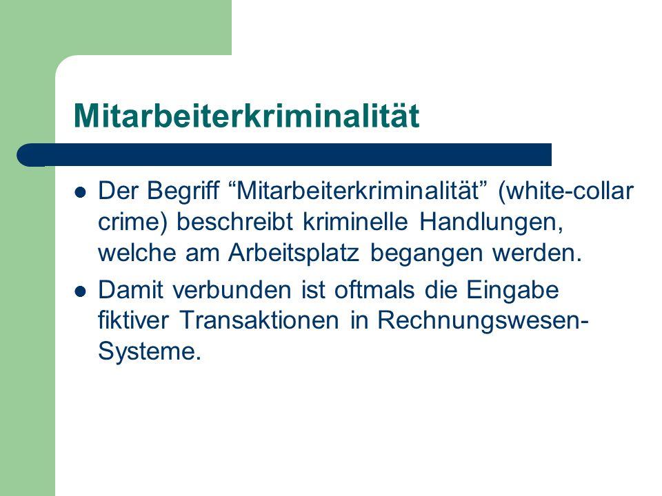 Mitarbeiterkriminalität Der Begriff Mitarbeiterkriminalität (white-collar crime) beschreibt kriminelle Handlungen, welche am Arbeitsplatz begangen wer