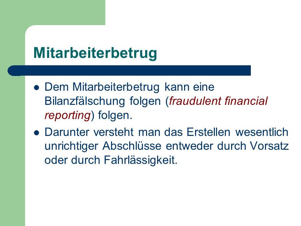 Mitarbeiterbetrug Dem Mitarbeiterbetrug kann eine Bilanzfälschung folgen (fraudulent financial reporting) folgen. Darunter versteht man das Erstellen