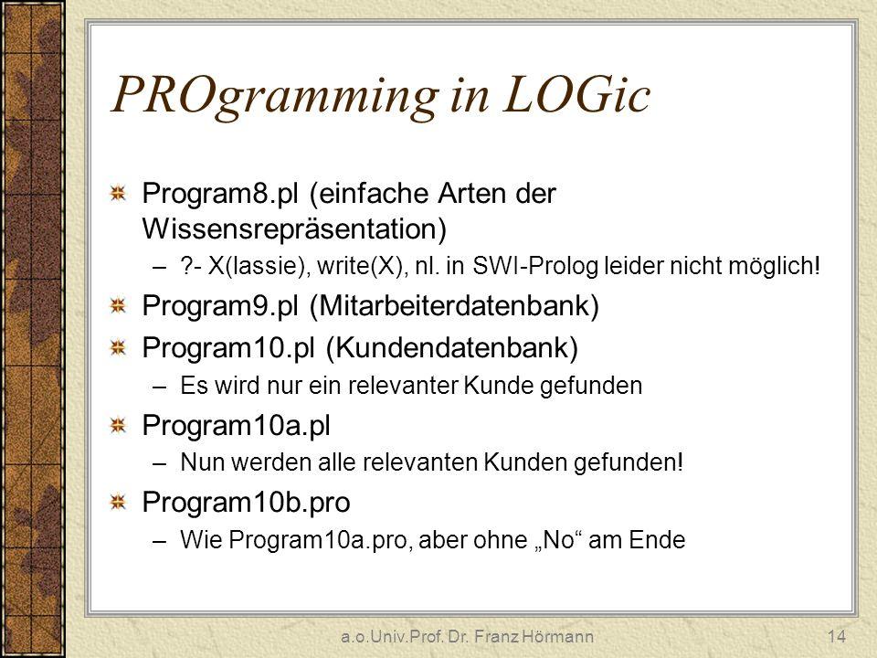 a.o.Univ.Prof. Dr. Franz Hörmann14 PROgramming in LOGic Program8.pl (einfache Arten der Wissensrepräsentation) –?- X(lassie), write(X), nl. in SWI-Pro