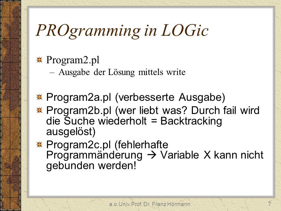 a.o.Univ.Prof. Dr. Franz Hörmann7 PROgramming in LOGic Program2.pl –Ausgabe der Lösung mittels write Program2a.pl (verbesserte Ausgabe) Program2b.pl (