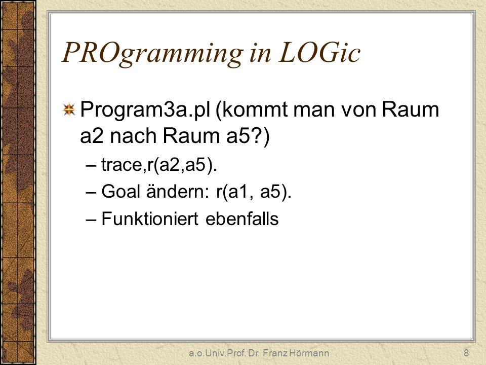 a.o.Univ.Prof. Dr. Franz Hörmann8 PROgramming in LOGic Program3a.pl (kommt man von Raum a2 nach Raum a5?) –trace,r(a2,a5). –Goal ändern: r(a1, a5). –F