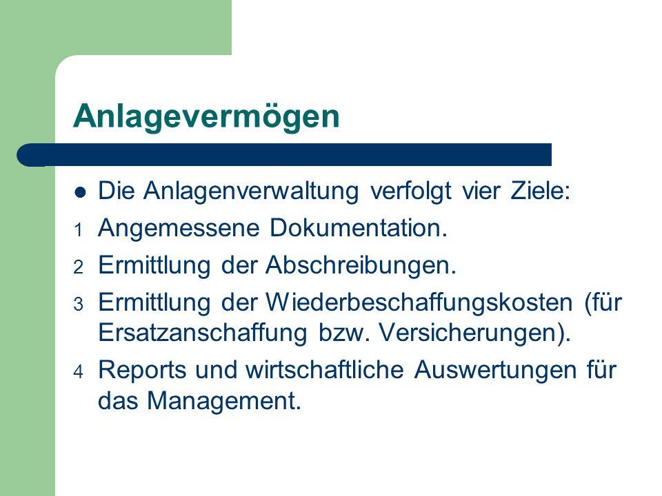 Anlagevermögen Die Anlagenverwaltung verfolgt vier Ziele: 1 Angemessene Dokumentation. 2 Ermittlung der Abschreibungen. 3 Ermittlung der Wiederbeschaf