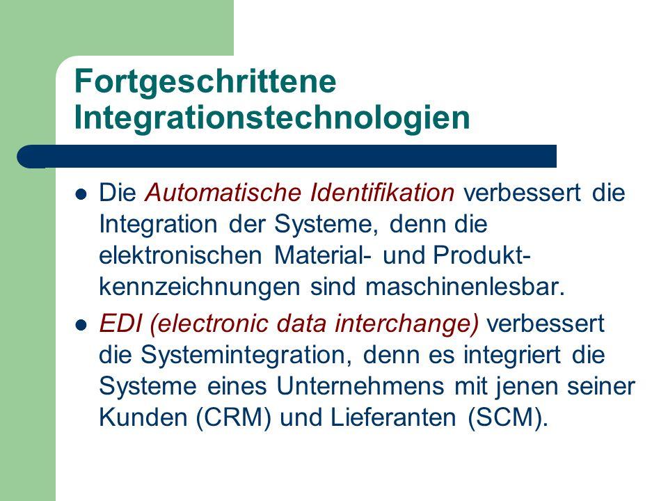 Fortgeschrittene Integrationstechnologien Die Automatische Identifikation verbessert die Integration der Systeme, denn die elektronischen Material- un