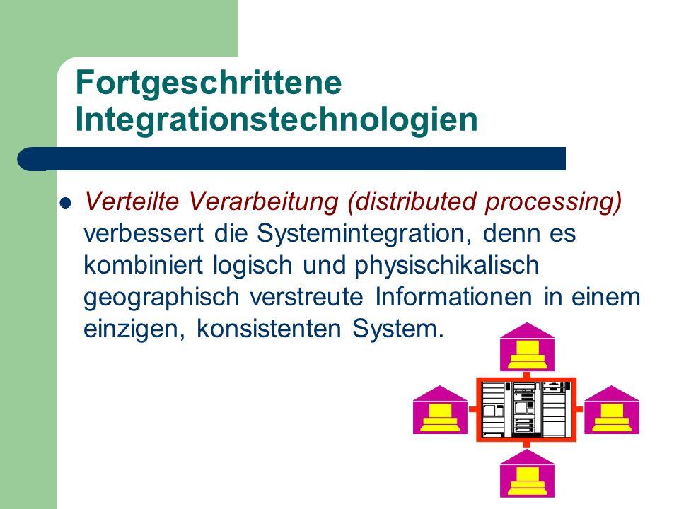 Fortgeschrittene Integrationstechnologien Verteilte Verarbeitung (distributed processing) verbessert die Systemintegration, denn es kombiniert logisch