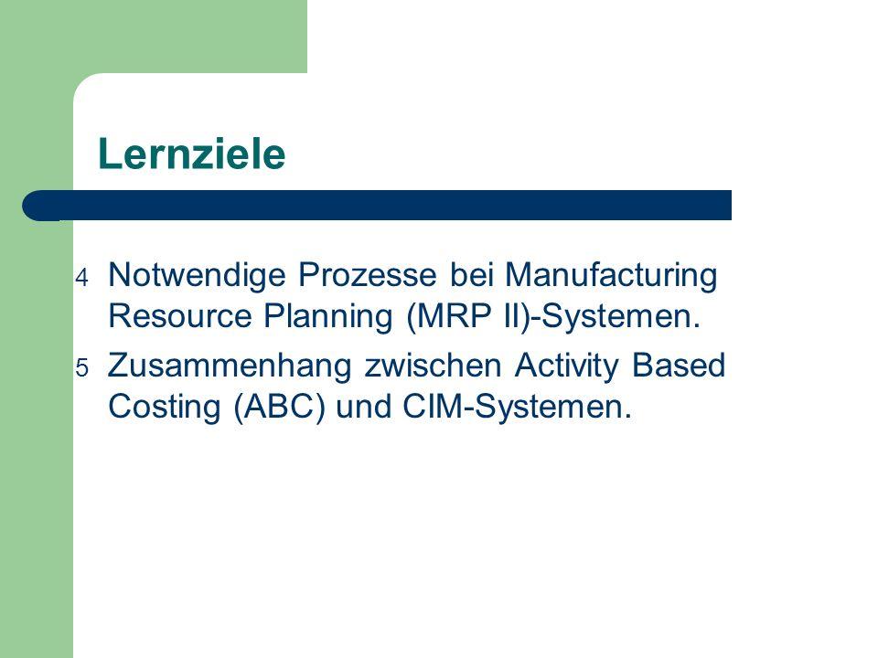 Lernziele 4 Notwendige Prozesse bei Manufacturing Resource Planning (MRP II)-Systemen. 5 Zusammenhang zwischen Activity Based Costing (ABC) und CIM-Sy
