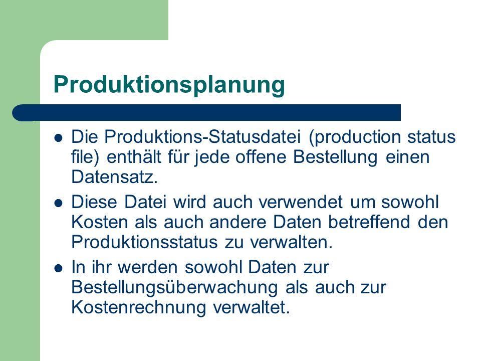 Produktionsplanung Die Produktions-Statusdatei (production status file) enthält für jede offene Bestellung einen Datensatz. Diese Datei wird auch verw