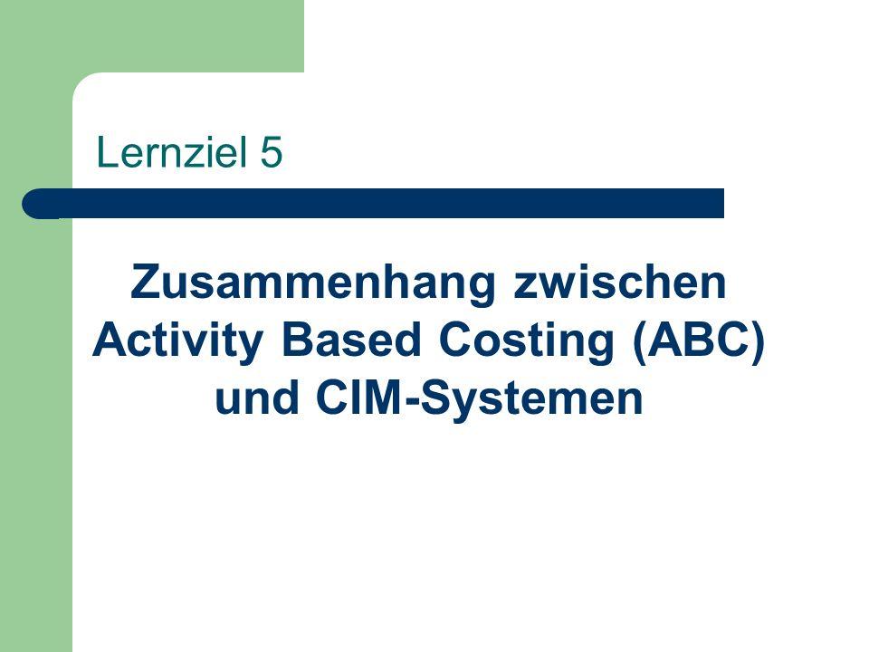Lernziel 5 Zusammenhang zwischen Activity Based Costing (ABC) und CIM-Systemen