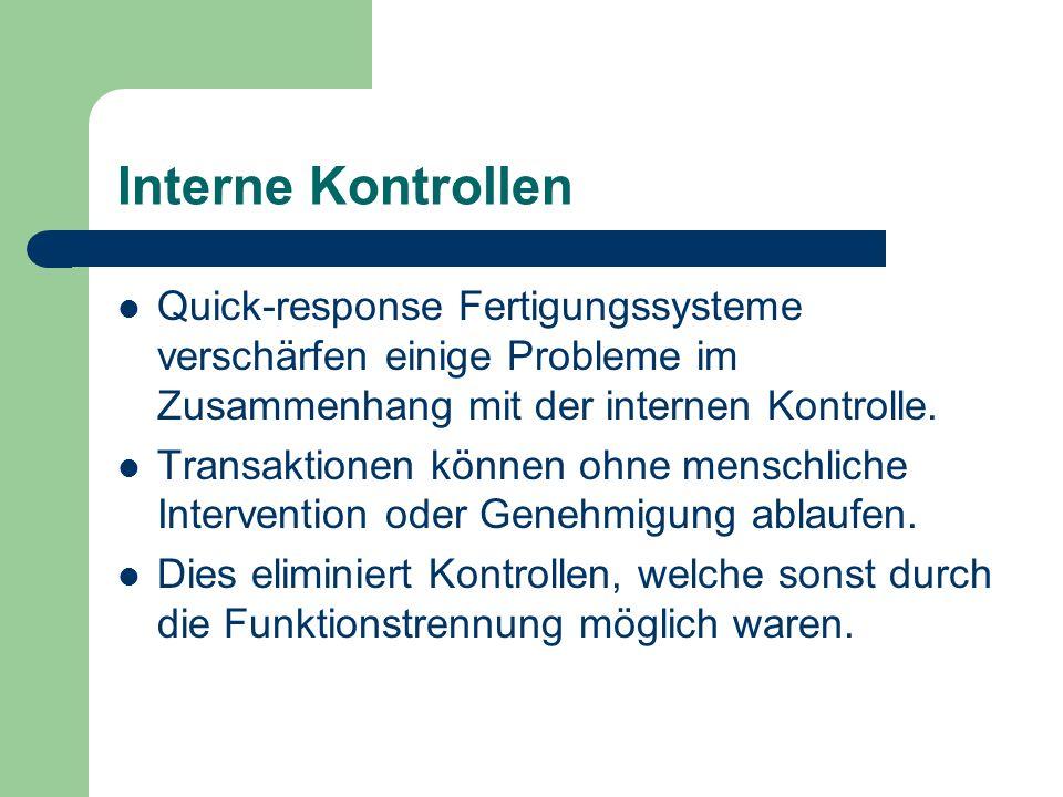 Interne Kontrollen Quick-response Fertigungssysteme verschärfen einige Probleme im Zusammenhang mit der internen Kontrolle. Transaktionen können ohne