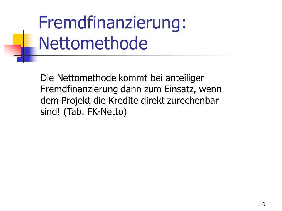 10 Fremdfinanzierung: Nettomethode Die Nettomethode kommt bei anteiliger Fremdfinanzierung dann zum Einsatz, wenn dem Projekt die Kredite direkt zurec