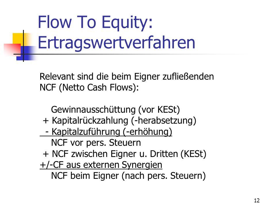 12 Flow To Equity: Ertragswertverfahren Relevant sind die beim Eigner zufließenden NCF (Netto Cash Flows): Gewinnausschüttung (vor KESt) + Kapitalrück