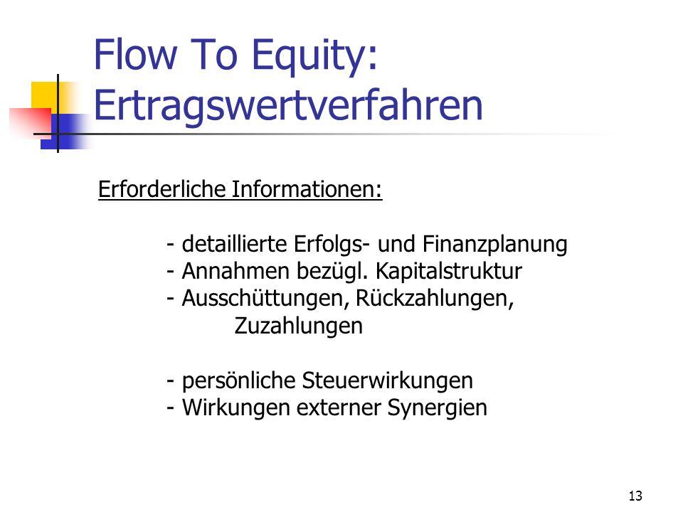 13 Flow To Equity: Ertragswertverfahren Erforderliche Informationen: - detaillierte Erfolgs- und Finanzplanung - Annahmen bezügl. Kapitalstruktur - Au