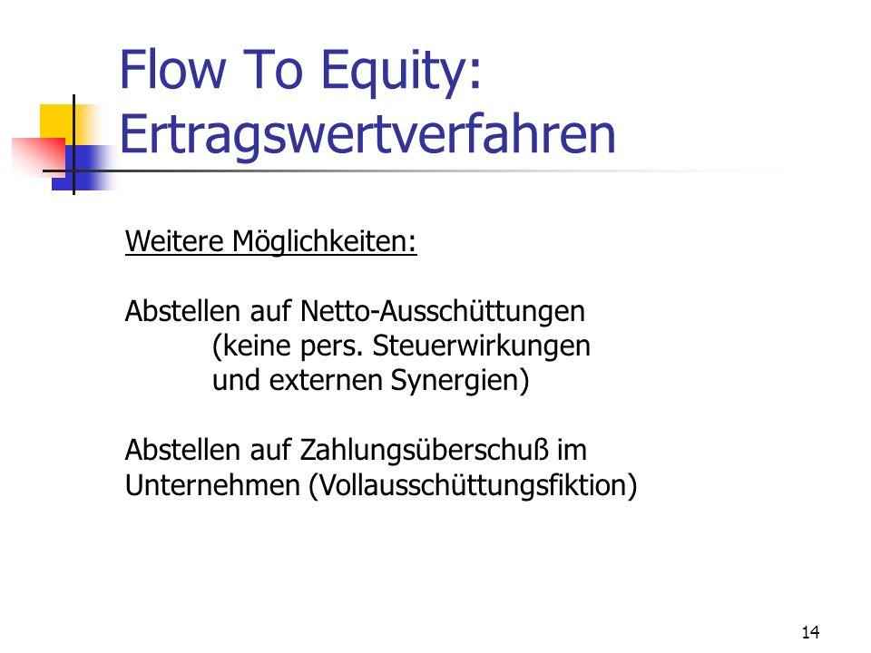 14 Flow To Equity: Ertragswertverfahren Weitere Möglichkeiten: Abstellen auf Netto-Ausschüttungen (keine pers. Steuerwirkungen und externen Synergien)