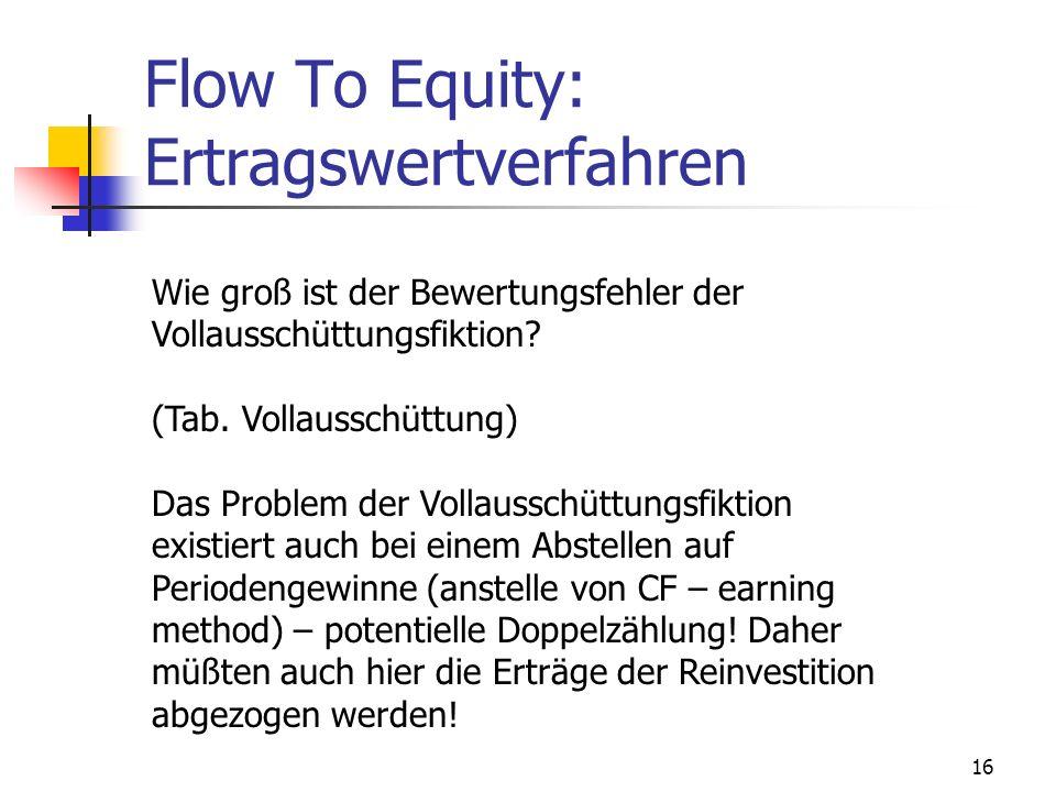 16 Flow To Equity: Ertragswertverfahren Wie groß ist der Bewertungsfehler der Vollausschüttungsfiktion? (Tab. Vollausschüttung) Das Problem der Vollau