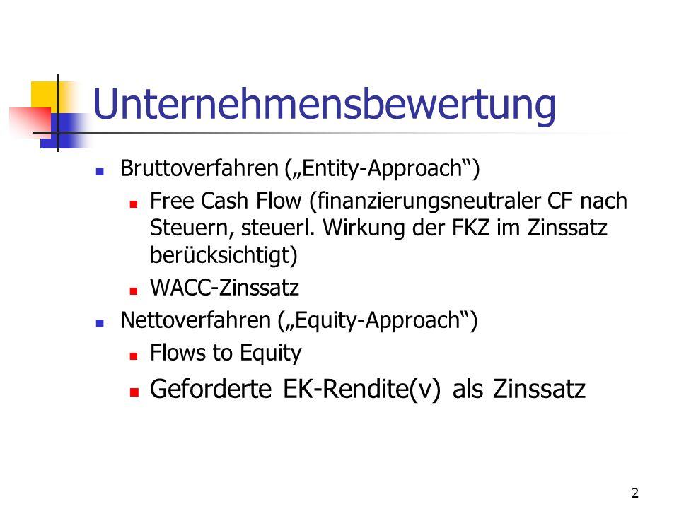 2 Unternehmensbewertung Bruttoverfahren (Entity-Approach) Free Cash Flow (finanzierungsneutraler CF nach Steuern, steuerl. Wirkung der FKZ im Zinssatz