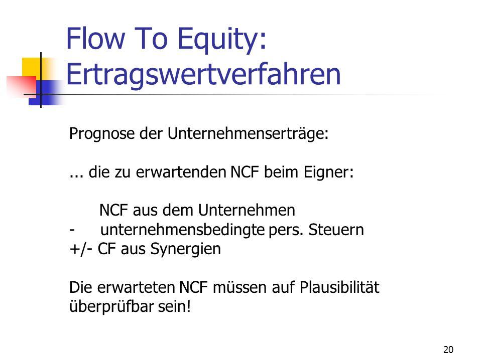 20 Flow To Equity: Ertragswertverfahren Prognose der Unternehmenserträge:... die zu erwartenden NCF beim Eigner: NCF aus dem Unternehmen - unternehmen