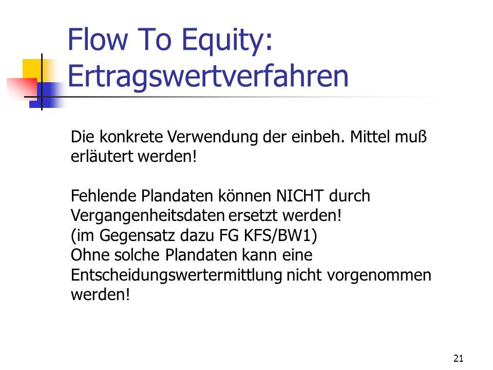 21 Flow To Equity: Ertragswertverfahren Die konkrete Verwendung der einbeh. Mittel muß erläutert werden! Fehlende Plandaten können NICHT durch Vergang