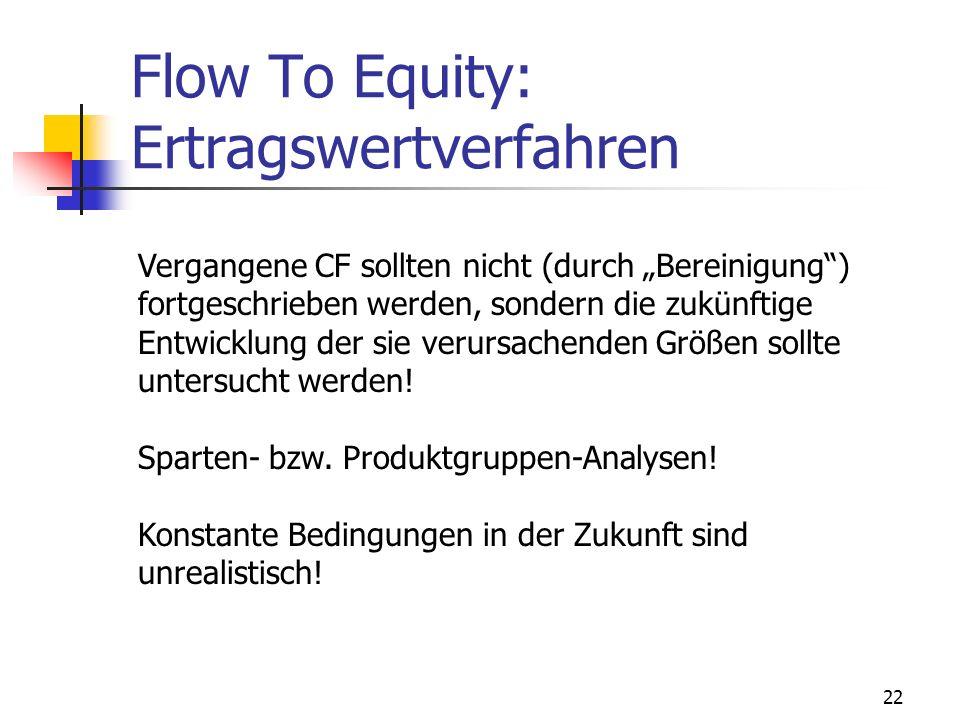 22 Flow To Equity: Ertragswertverfahren Vergangene CF sollten nicht (durch Bereinigung) fortgeschrieben werden, sondern die zukünftige Entwicklung der