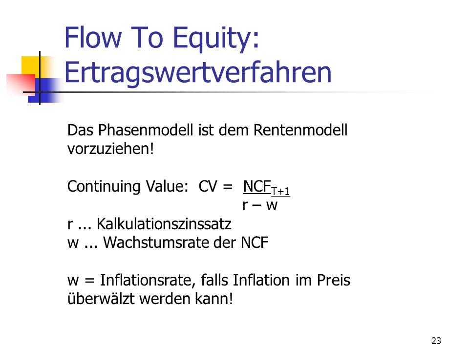 23 Flow To Equity: Ertragswertverfahren Das Phasenmodell ist dem Rentenmodell vorzuziehen! Continuing Value: CV = NCF T+1 r – w r... Kalkulationszinss
