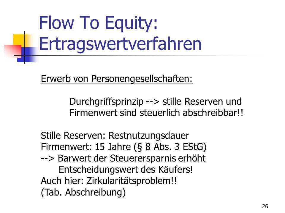 26 Flow To Equity: Ertragswertverfahren Erwerb von Personengesellschaften: Durchgriffsprinzip --> stille Reserven und Firmenwert sind steuerlich absch