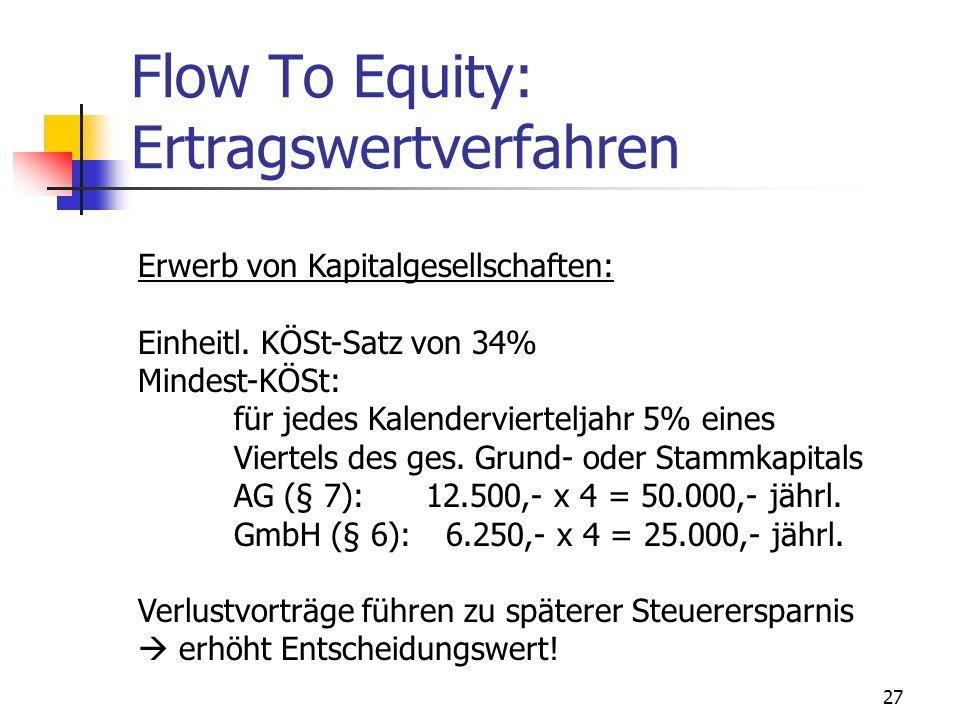 27 Flow To Equity: Ertragswertverfahren Erwerb von Kapitalgesellschaften: Einheitl. KÖSt-Satz von 34% Mindest-KÖSt: für jedes Kalendervierteljahr 5% e