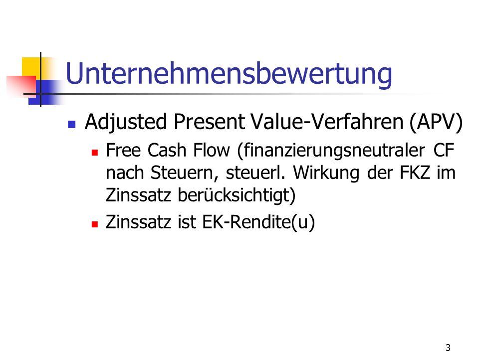 3 Unternehmensbewertung Adjusted Present Value-Verfahren (APV) Free Cash Flow (finanzierungsneutraler CF nach Steuern, steuerl. Wirkung der FKZ im Zin