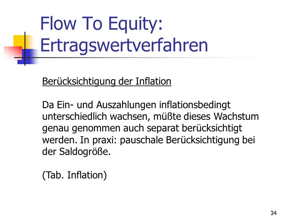 34 Flow To Equity: Ertragswertverfahren Berücksichtigung der Inflation Da Ein- und Auszahlungen inflationsbedingt unterschiedlich wachsen, müßte diese