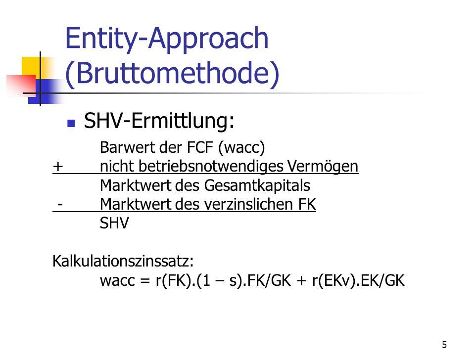 5 Entity-Approach (Bruttomethode) SHV-Ermittlung: Barwert der FCF (wacc) +nicht betriebsnotwendiges Vermögen Marktwert des Gesamtkapitals - Marktwert