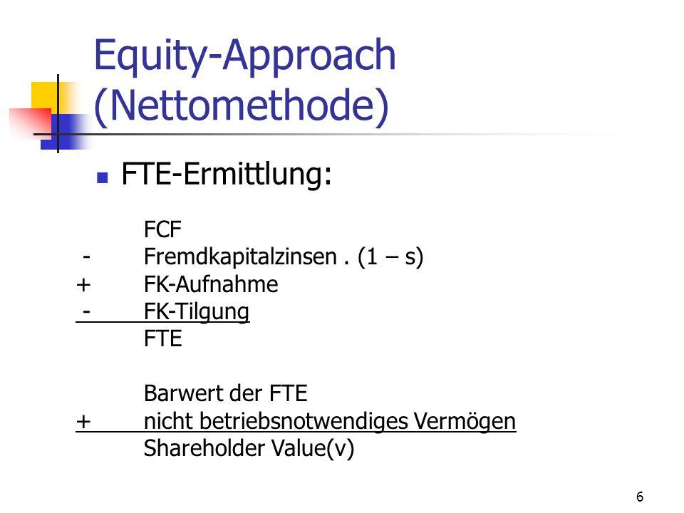 6 Equity-Approach (Nettomethode) FTE-Ermittlung: FCF -Fremdkapitalzinsen. (1 – s) + FK-Aufnahme - FK-Tilgung FTE Barwert der FTE +nicht betriebsnotwen