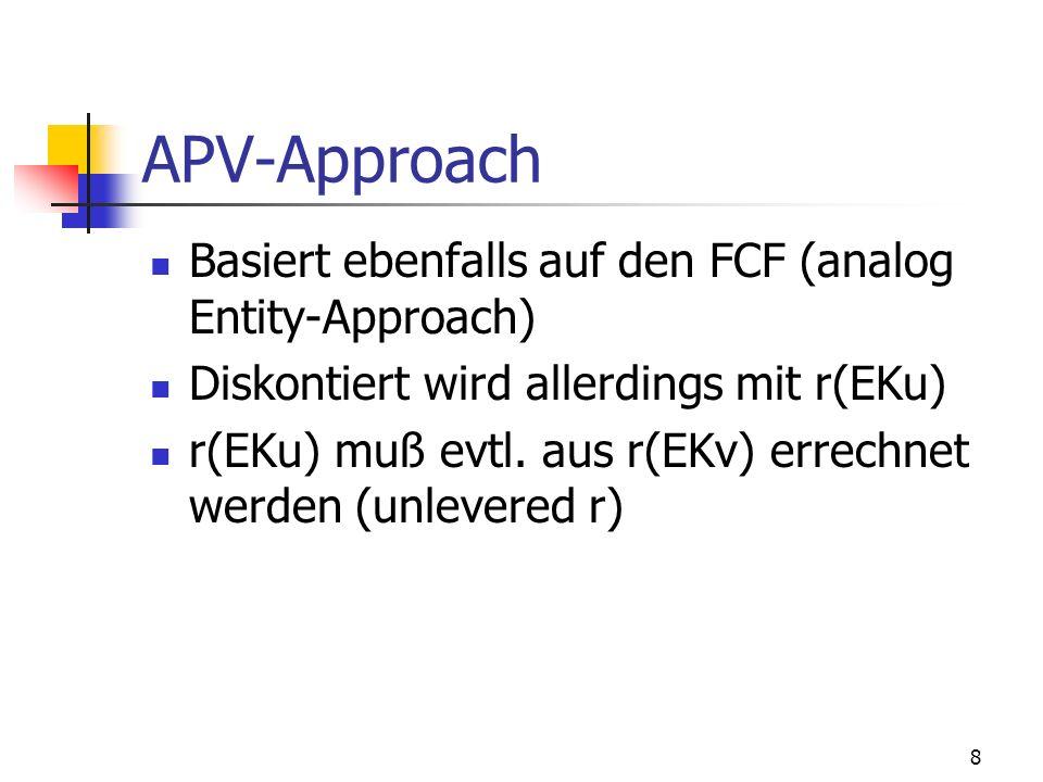 8 APV-Approach Basiert ebenfalls auf den FCF (analog Entity-Approach) Diskontiert wird allerdings mit r(EKu) r(EKu) muß evtl. aus r(EKv) errechnet wer