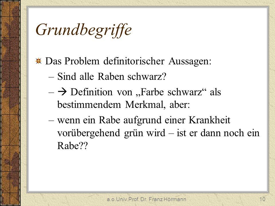 a.o.Univ.Prof. Dr. Franz Hörmann10 Grundbegriffe Das Problem definitorischer Aussagen: –Sind alle Raben schwarz? – Definition von Farbe schwarz als be