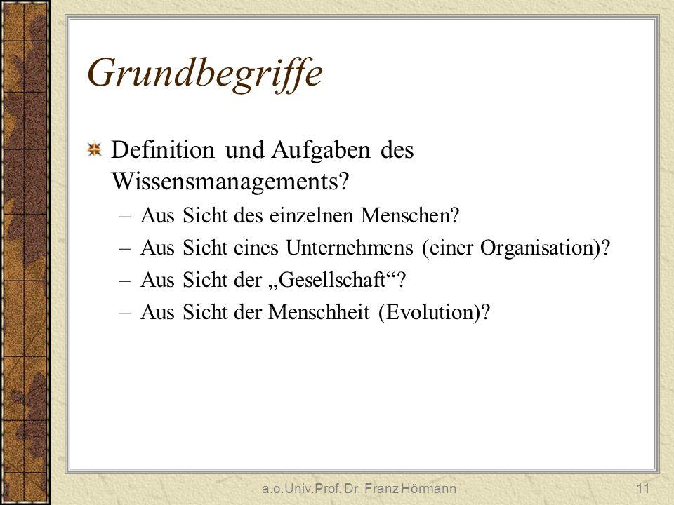 a.o.Univ.Prof. Dr. Franz Hörmann11 Grundbegriffe Definition und Aufgaben des Wissensmanagements? –Aus Sicht des einzelnen Menschen? –Aus Sicht eines U