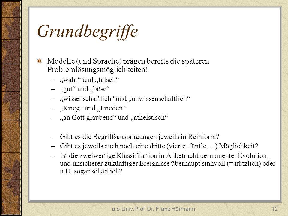 a.o.Univ.Prof. Dr. Franz Hörmann12 Grundbegriffe Modelle (und Sprache) prägen bereits die späteren Problemlösungsmöglichkeiten! –wahr und falsch –gut
