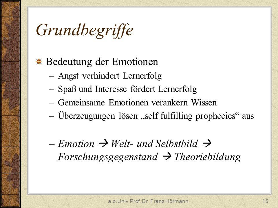 a.o.Univ.Prof. Dr. Franz Hörmann15 Grundbegriffe Bedeutung der Emotionen –Angst verhindert Lernerfolg –Spaß und Interesse fördert Lernerfolg –Gemeinsa