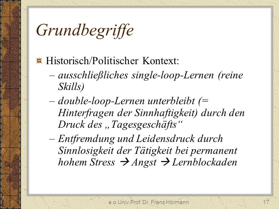 a.o.Univ.Prof. Dr. Franz Hörmann17 Grundbegriffe Historisch/Politischer Kontext: –ausschließliches single-loop-Lernen (reine Skills) –double-loop-Lern