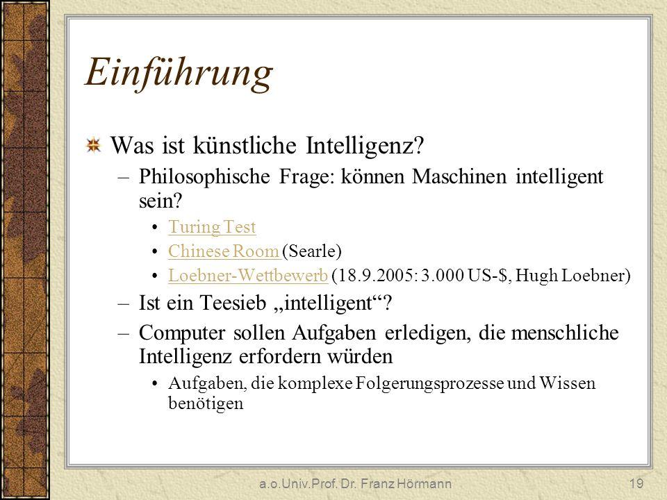 a.o.Univ.Prof. Dr. Franz Hörmann19 Einführung Was ist künstliche Intelligenz? –Philosophische Frage: können Maschinen intelligent sein? Turing Test Ch