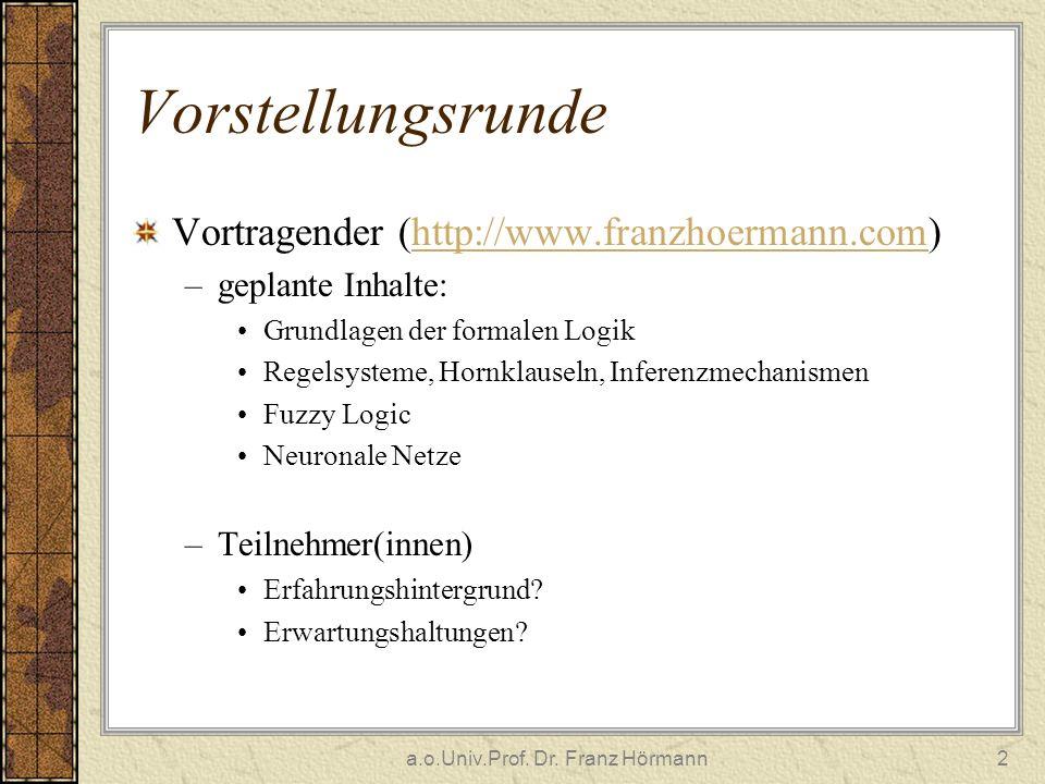 a.o.Univ.Prof. Dr. Franz Hörmann2 Vorstellungsrunde Vortragender (http://www.franzhoermann.com)http://www.franzhoermann.com –geplante Inhalte: Grundla