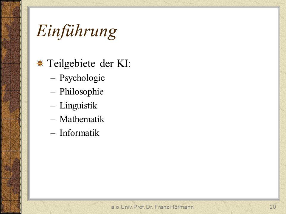 a.o.Univ.Prof. Dr. Franz Hörmann20 Einführung Teilgebiete der KI: –Psychologie –Philosophie –Linguistik –Mathematik –Informatik