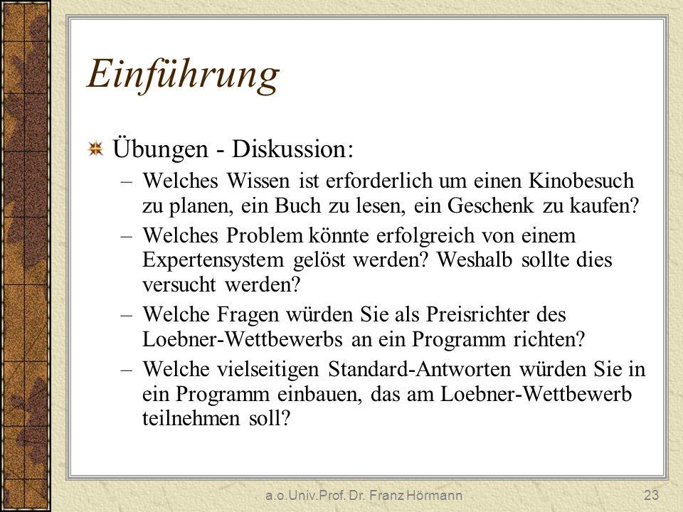 a.o.Univ.Prof. Dr. Franz Hörmann23 Einführung Übungen - Diskussion: –Welches Wissen ist erforderlich um einen Kinobesuch zu planen, ein Buch zu lesen,