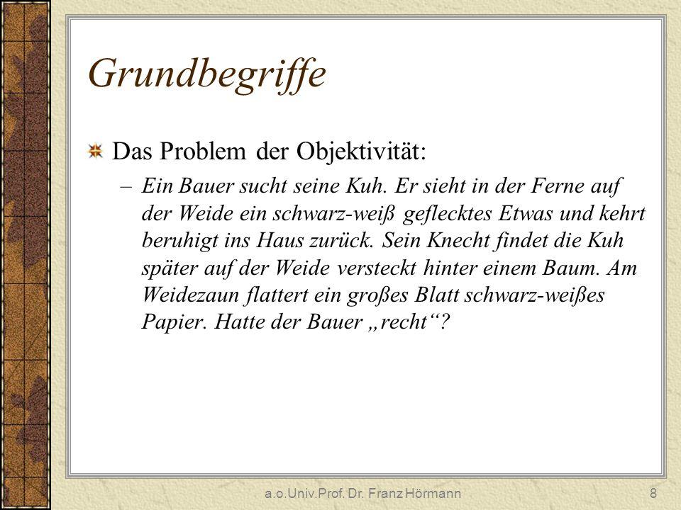a.o.Univ.Prof. Dr. Franz Hörmann8 Grundbegriffe Das Problem der Objektivität: –Ein Bauer sucht seine Kuh. Er sieht in der Ferne auf der Weide ein schw