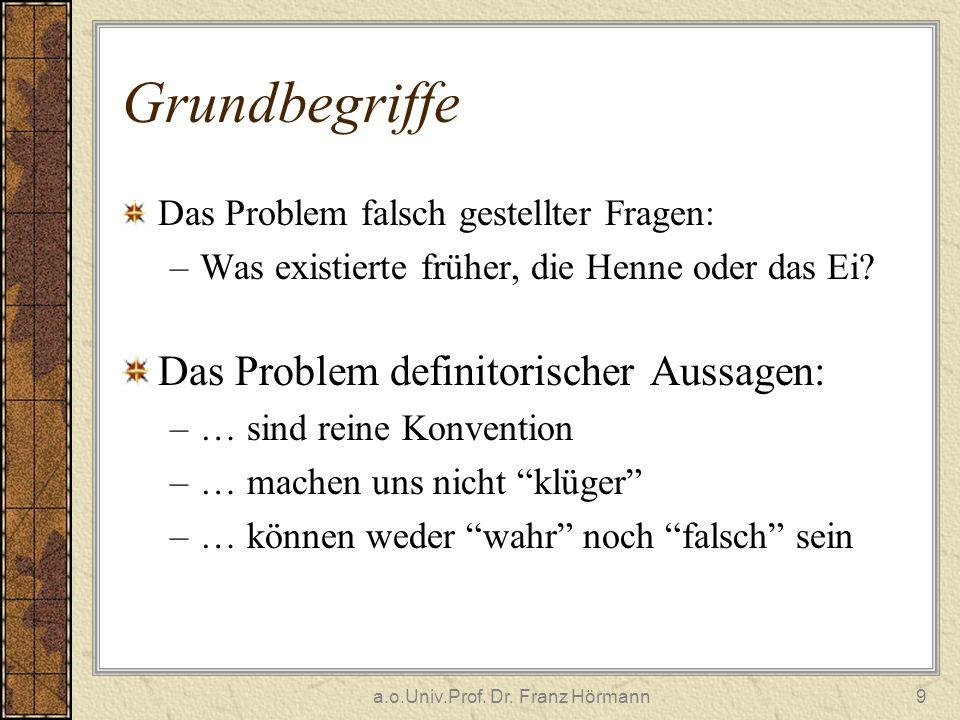 a.o.Univ.Prof. Dr. Franz Hörmann9 Grundbegriffe Das Problem falsch gestellter Fragen: –Was existierte früher, die Henne oder das Ei? Das Problem defin