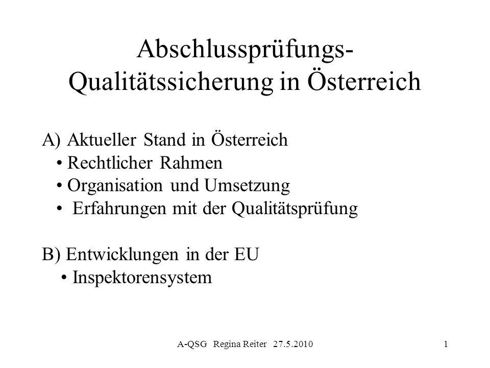 A-QSG Regina Reiter 27.5.20102 A-QSG A) Aktueller Stand in Österreich Abschlussprüfungs-Qualitätssicherungsgesetz 2005 (A-QSG) idF 29.