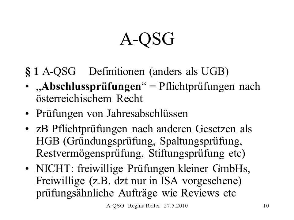 A-QSG Regina Reiter 27.5.201010 A-QSG § 1 A-QSG Definitionen (anders als UGB) Abschlussprüfungen = Pflichtprüfungen nach österreichischem Recht Prüfun