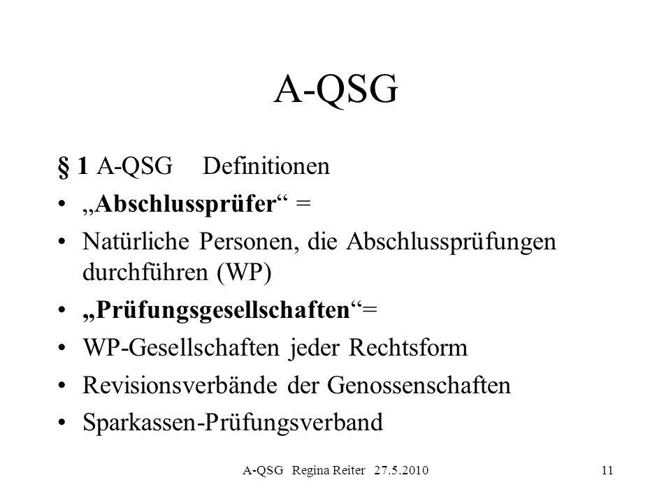A-QSG Regina Reiter 27.5.201011 A-QSG § 1 A-QSG Definitionen Abschlussprüfer = Natürliche Personen, die Abschlussprüfungen durchführen (WP) Prüfungsge