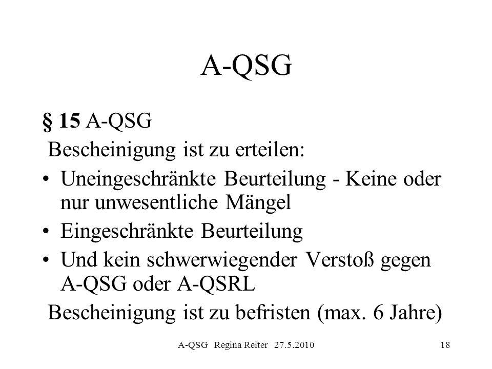 A-QSG Regina Reiter 27.5.201018 A-QSG § 15 A-QSG Bescheinigung ist zu erteilen: Uneingeschränkte Beurteilung - Keine oder nur unwesentliche Mängel Ein