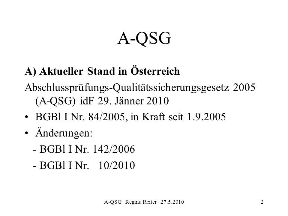 A-QSG Regina Reiter 27.5.201033 Entwicklungen in der EU Focus der Vereinheitlichung: Prüfer von public-interest-companies Für Prüfer von nicht im öffentlichen Interesse liegenden Unternehmen sind dzt keine Änderungen des Qualitätssicherungs- systems vorgesehen.