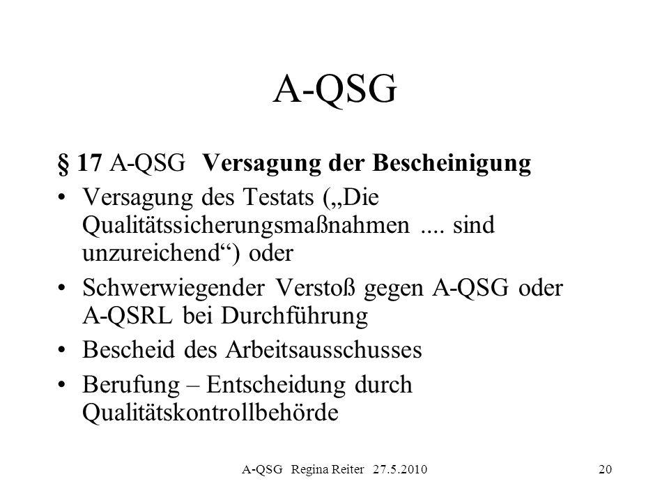 A-QSG Regina Reiter 27.5.201020 A-QSG § 17 A-QSG Versagung der Bescheinigung Versagung des Testats (Die Qualitätssicherungsmaßnahmen.... sind unzureic