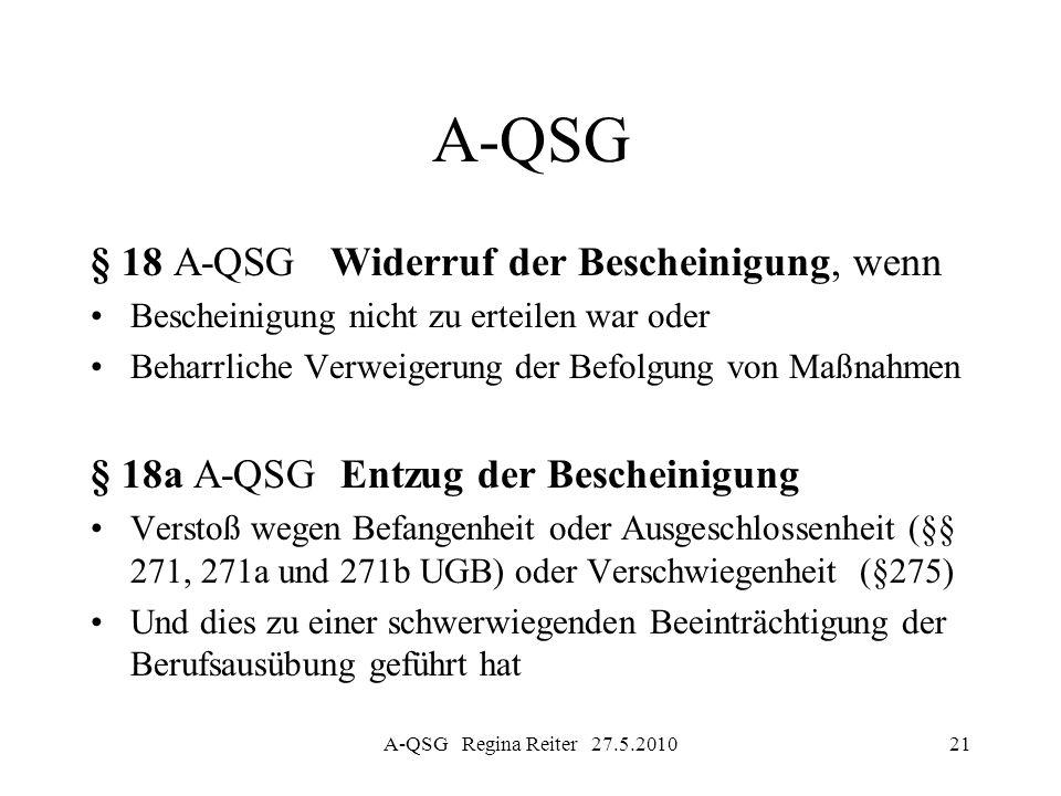 A-QSG Regina Reiter 27.5.201021 A-QSG § 18 A-QSG Widerruf der Bescheinigung, wenn Bescheinigung nicht zu erteilen war oder Beharrliche Verweigerung de