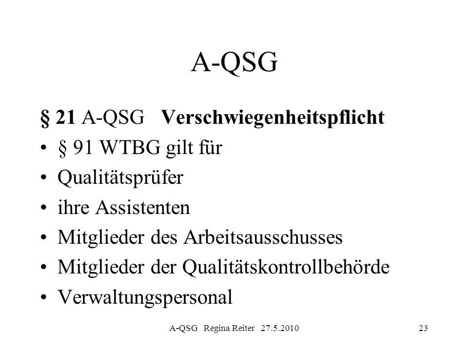 A-QSG Regina Reiter 27.5.201023 A-QSG § 21 A-QSG Verschwiegenheitspflicht § 91 WTBG gilt für Qualitätsprüfer ihre Assistenten Mitglieder des Arbeitsau