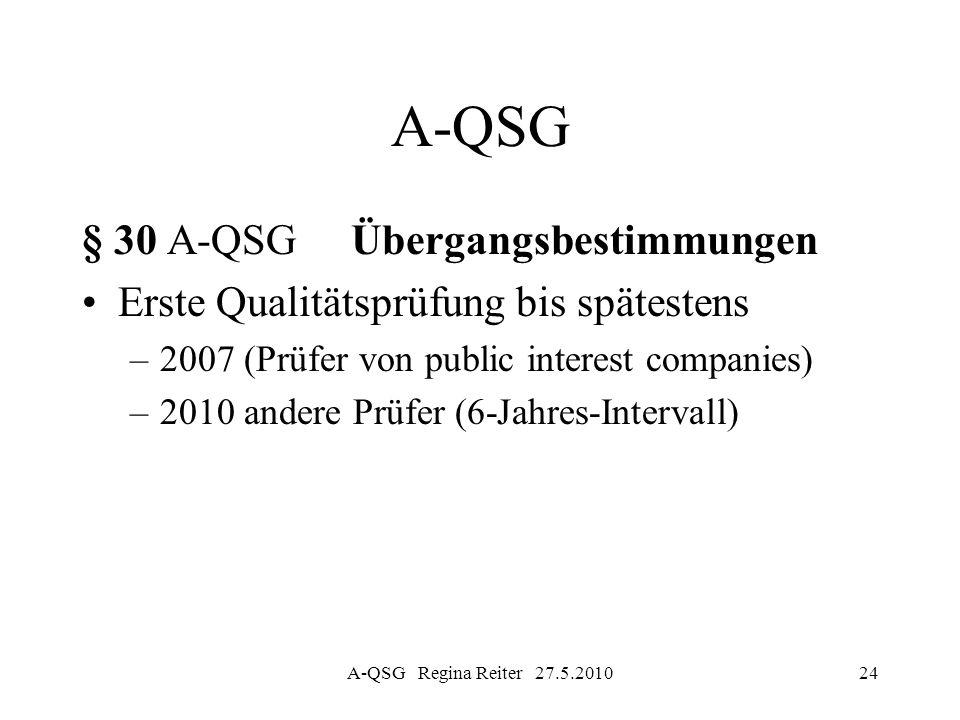 A-QSG Regina Reiter 27.5.201024 A-QSG § 30 A-QSG Übergangsbestimmungen Erste Qualitätsprüfung bis spätestens –2007 (Prüfer von public interest compani